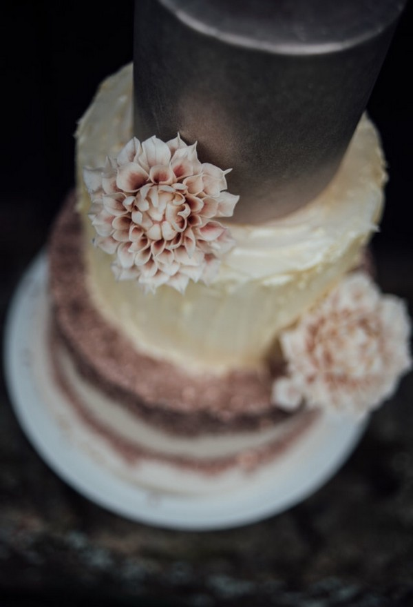 Flower on wedding cake made by Claire's Sweet Temptations