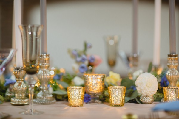 Votives on wedding table