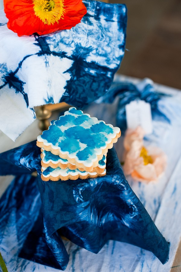 Indigo Shibori style biscuits