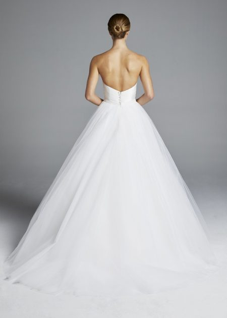 Back of Amal Wedding Dress with Overskirt from the Anne Barge Spring 2019 Bridal Collection