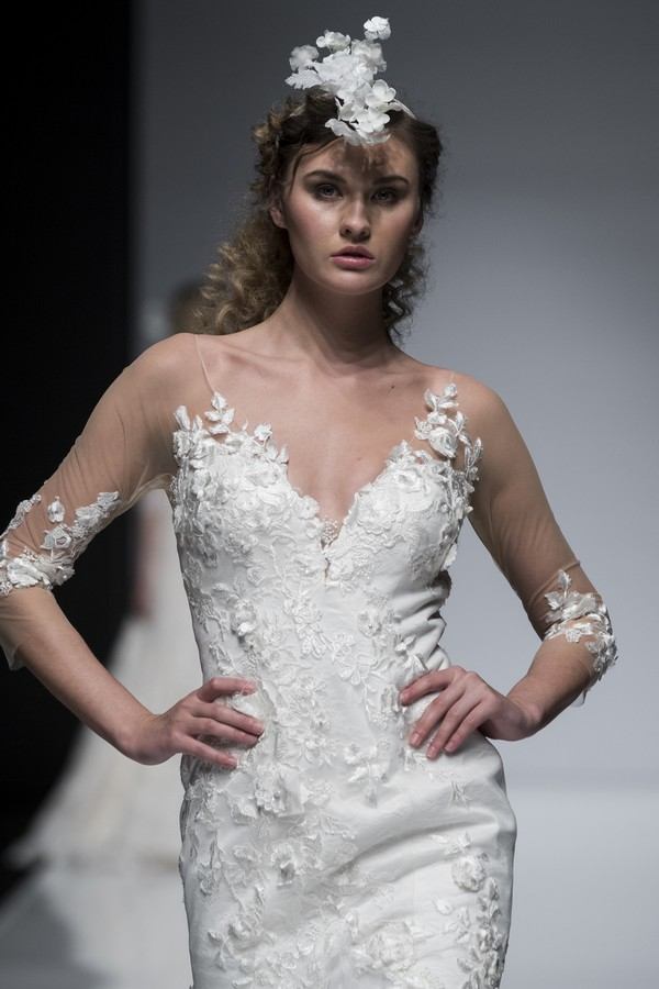 Brian Chen 2019 Wedding Dress with 3/4 Length Sheer Sleeves