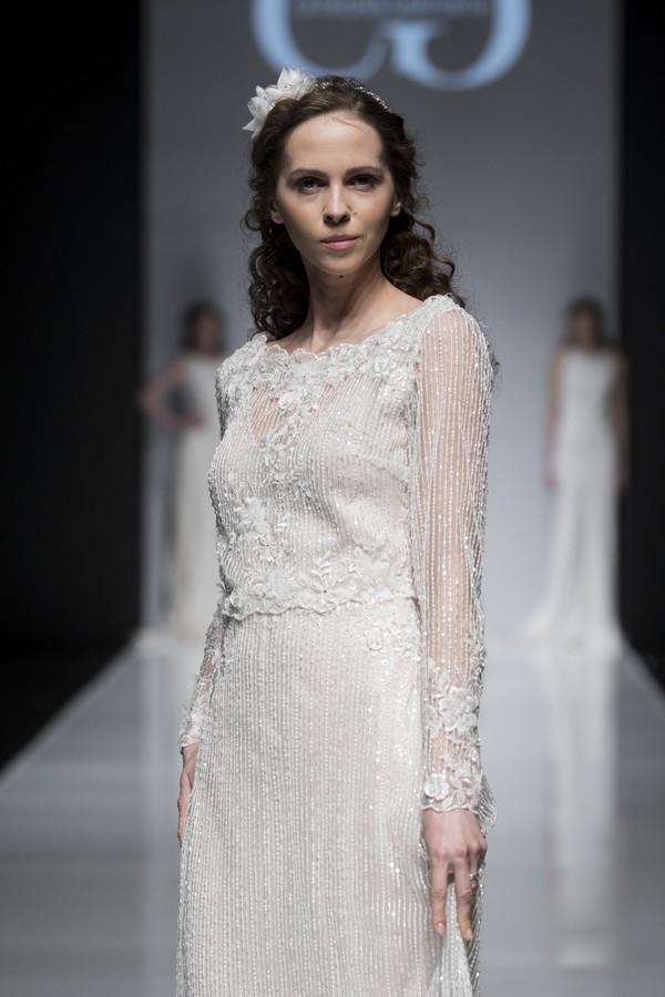 Catriona Garforth 2019 Wedding Dress with Long Sheer Beaded Sleeves