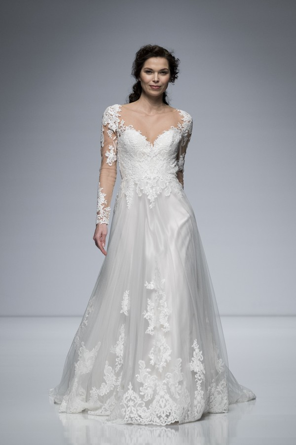 Charlotte Balbier 2019 Wedding Dress with Long Sheer Lace Sleeves