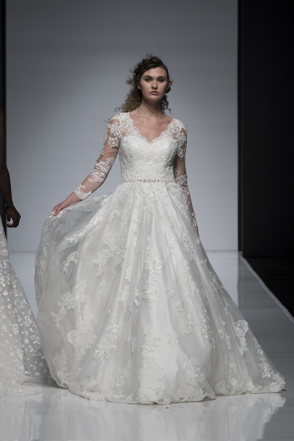 Ellis Bridals 2019 Wedding Dress with Long Sheer Lace Sleeves