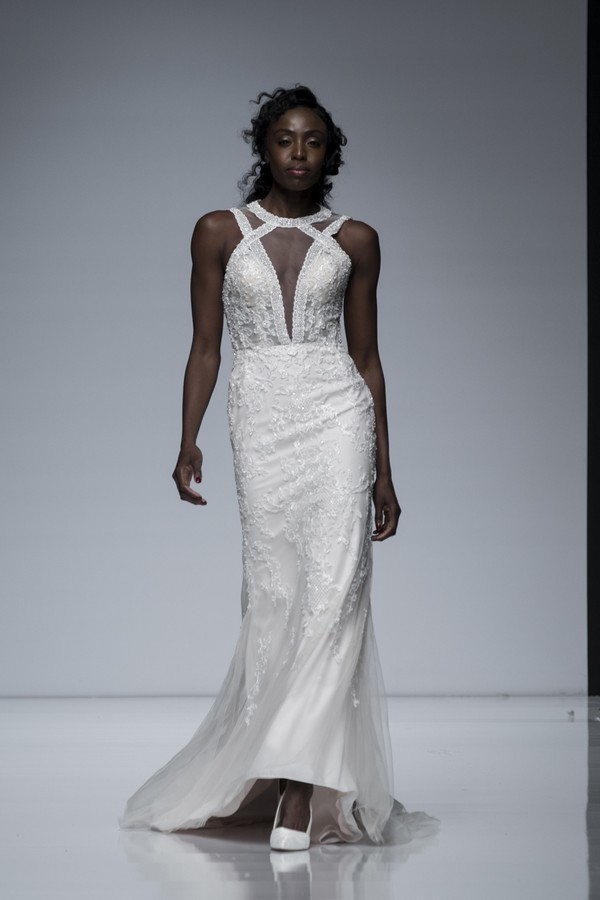 Eternity Bridal 2019 Wedding Dress with High Neckline and Sheer Plunging Bodice