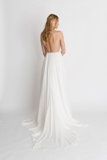 Back of Iris Solid Wedding Dress from the Alexandra Grecco The Magic Hour 2018 Bridal Collection