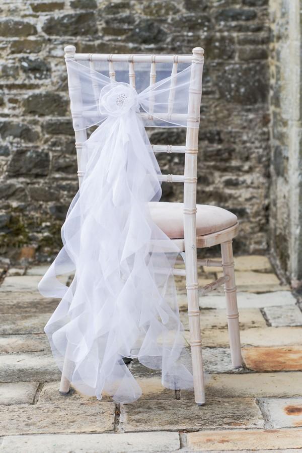 Limewashed Chiavari Chairs with Lace Sash