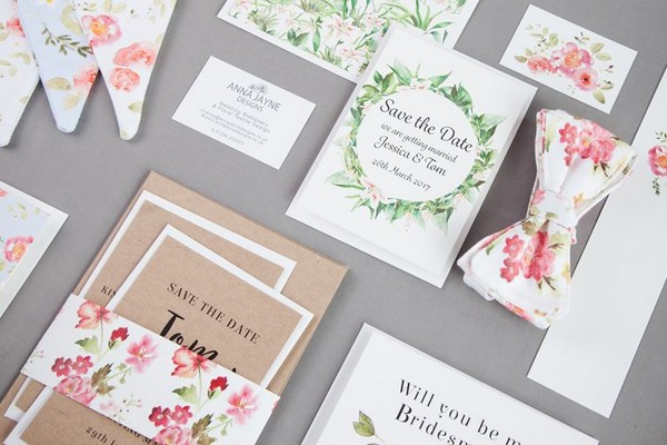 Floral wedding stationery and fabric products from Anna Jayne Designs