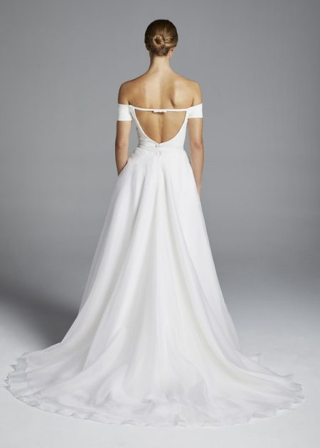 Back of Rita Wedding Dress with Overskirt from the Anne Barge Spring 2019 Bridal Collection