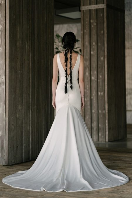 Back of Roberts Wedding Dress from the Rita Vinieris Rivini Spring 2019 Bridal Collection