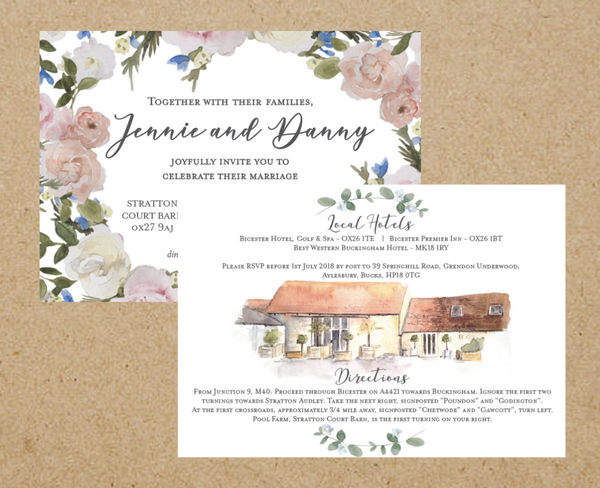 Stratton Court Barn Bespoke Wedding Stationery Design by Anna Jayne Designs