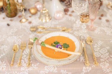 Wedding Table Setting with Gold Cutlery