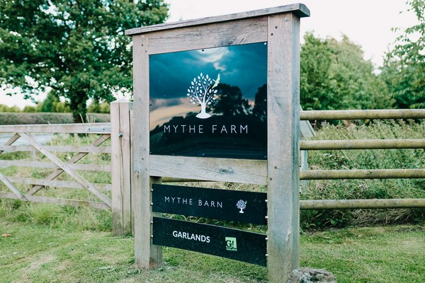 Mythe Barn entrance sign