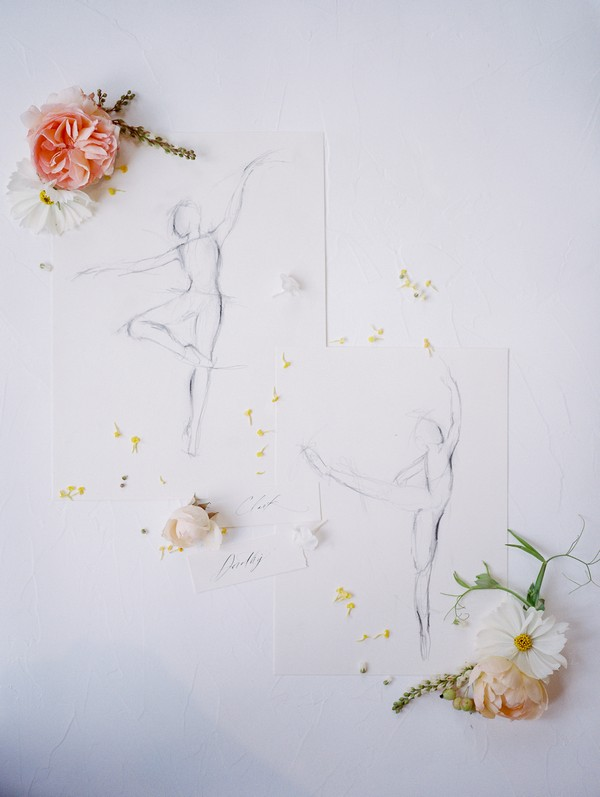 Sketch of dancer with yellow flowers