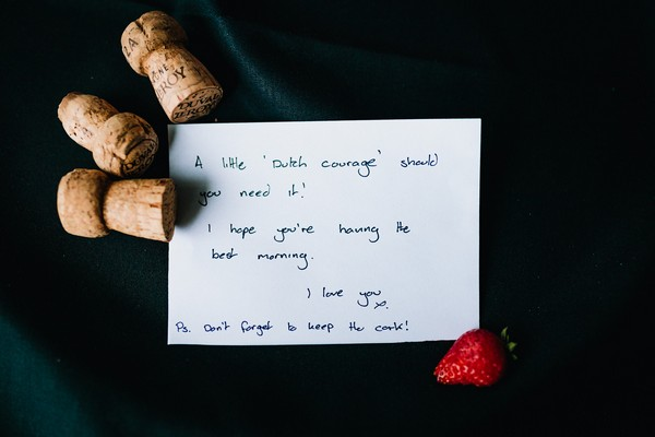 Wedding morning note to bride from groom