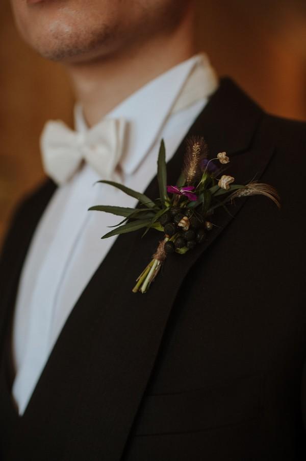 Groom's foliage buttonhole
