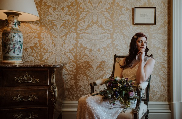 Bride sitting in chair