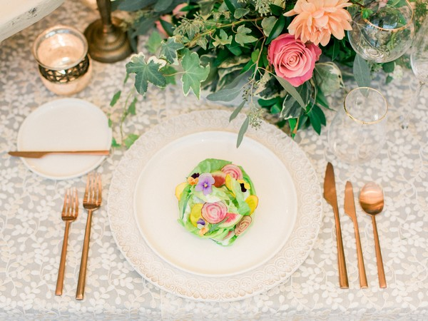 Colourful food on wedding plate