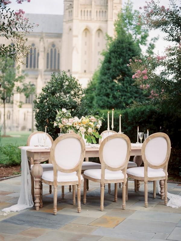 Elegant wedding table outside