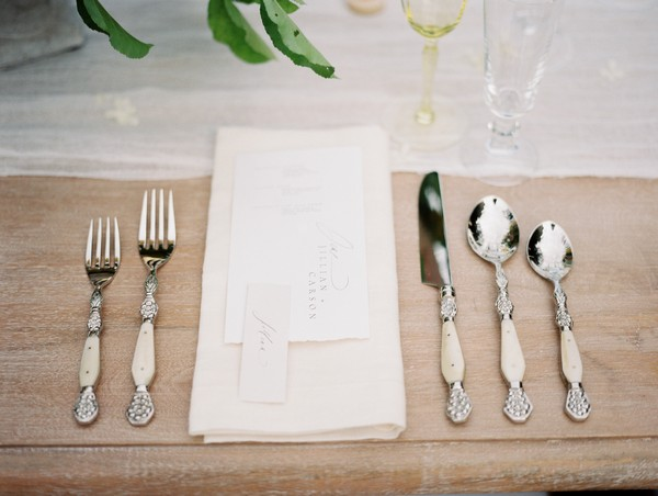 Wedding place setting with cutlery laid out