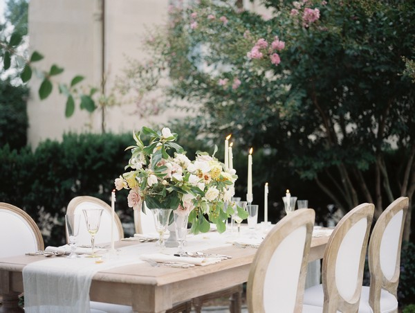 Wedding table with floral centrepiece