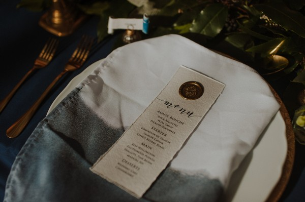 Menu on wedding plate