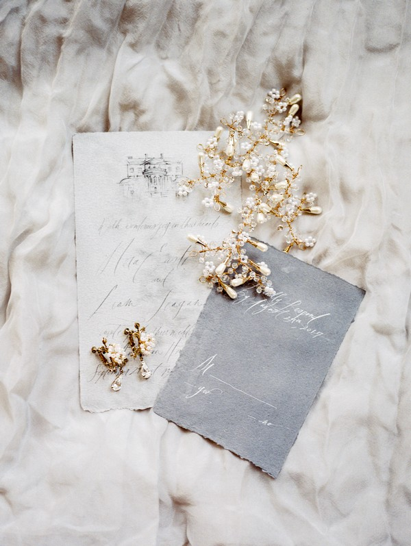 Wedding stationery with bridal jewellery