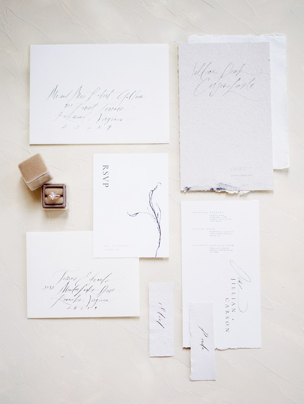 Wedding stationery with calligraphy lettering