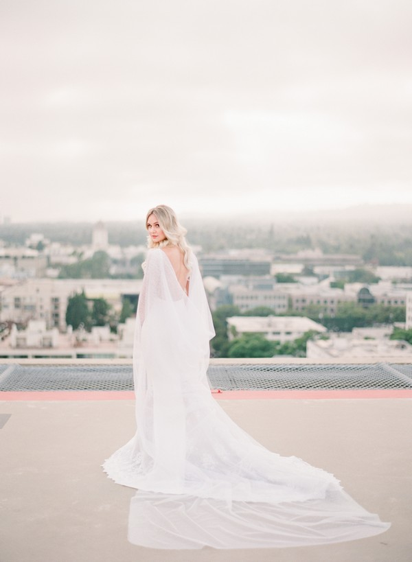 Bride with long cape