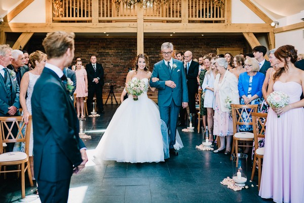 Father walking bride down the aisle at Mythe Barn