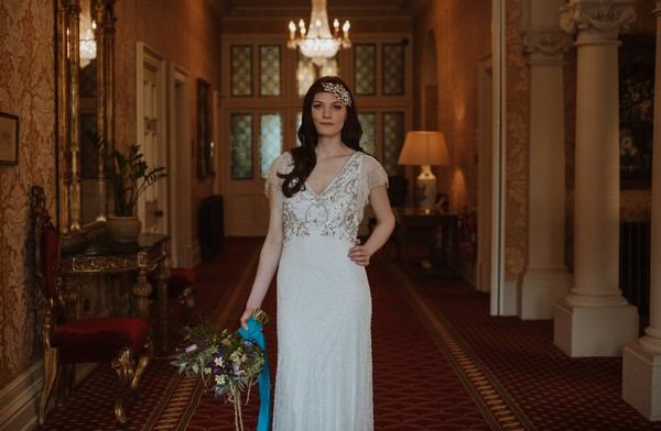 Bride standing in hall at Kilworth House