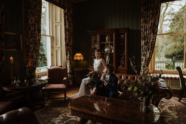 Bride and groom in drawing room at Kilworth House