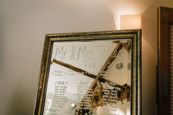 Wedding table plan written on mirror