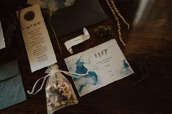 Blue watercolour wedding RSVP
