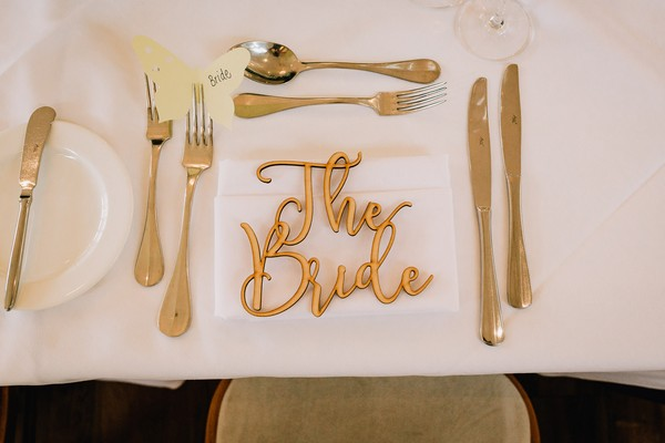 The Bride wedding place setting name