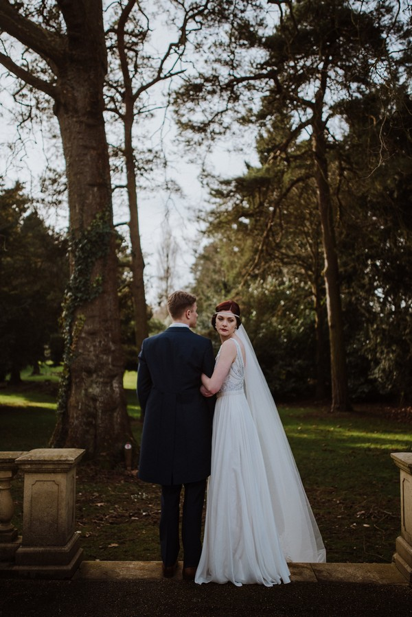 Bride and groom in grounds of Kilworth House
