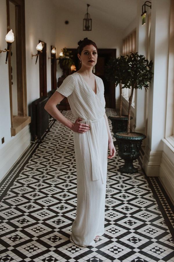 Bride wearing bridal jumpsuit