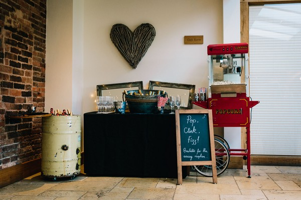 Wedding prosecco bar and popcorn machine