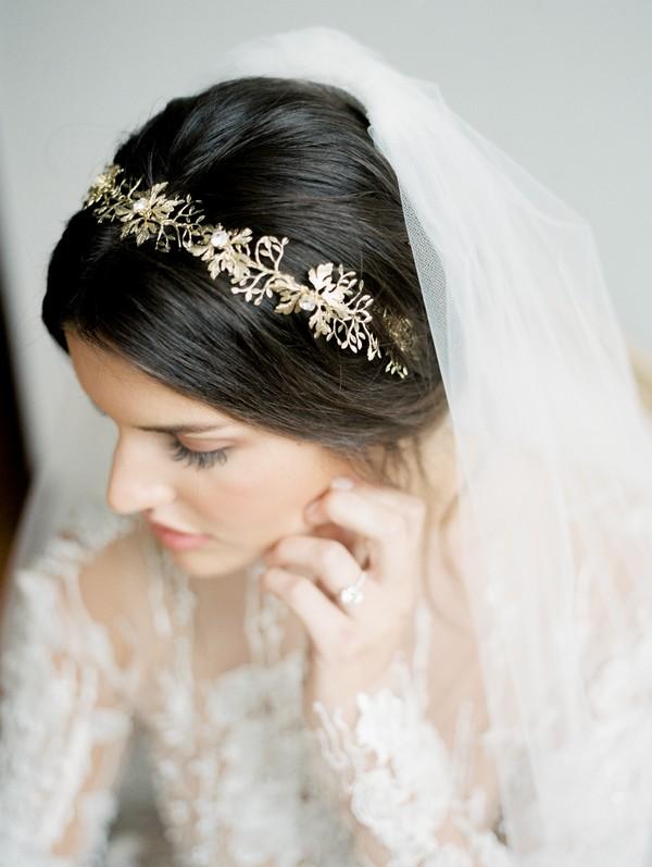 Bride wearing gold crown