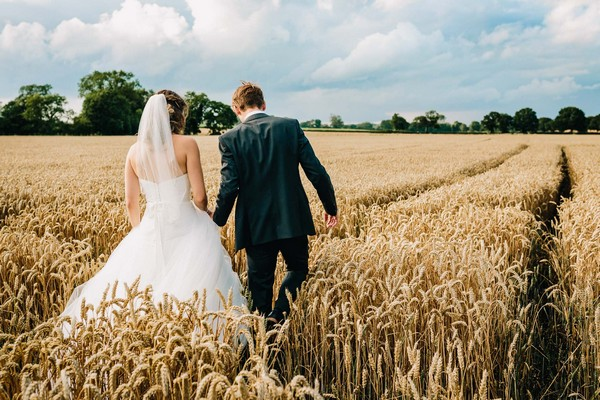 Bride and groom walking across cornfield
