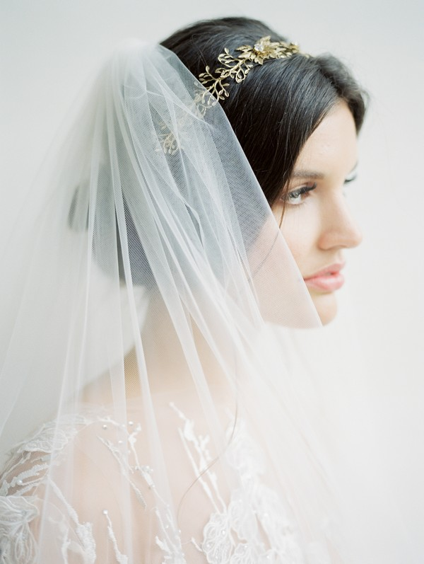 Bride with updo, crown and veil