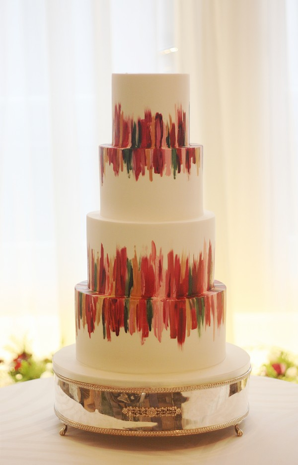 Bold Brushstrokes Hand-Painted Wedding Cake