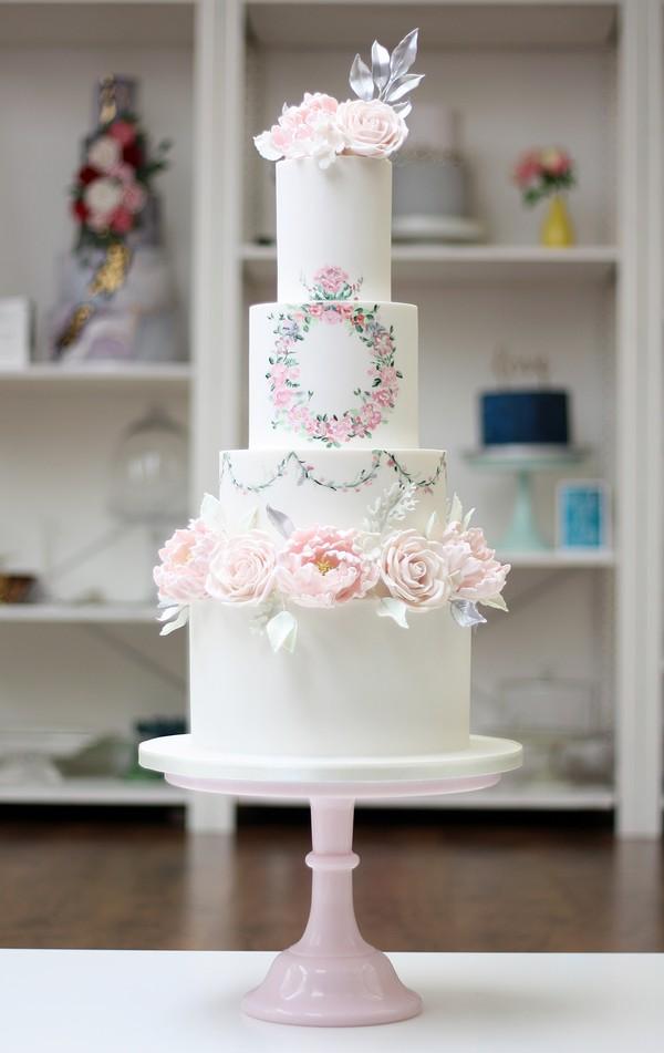 English Garden Hand-Painted Wedding Cake