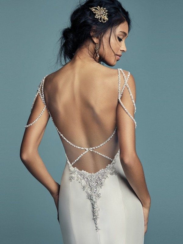 Maggie Sottero Gentry plunging back wedding dress