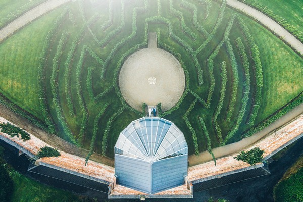 Aerial view of maze at Combermere Abbey