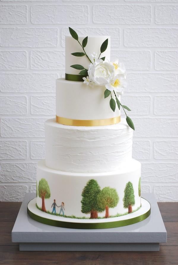 Scenic Hand-Painted Wedding Cake