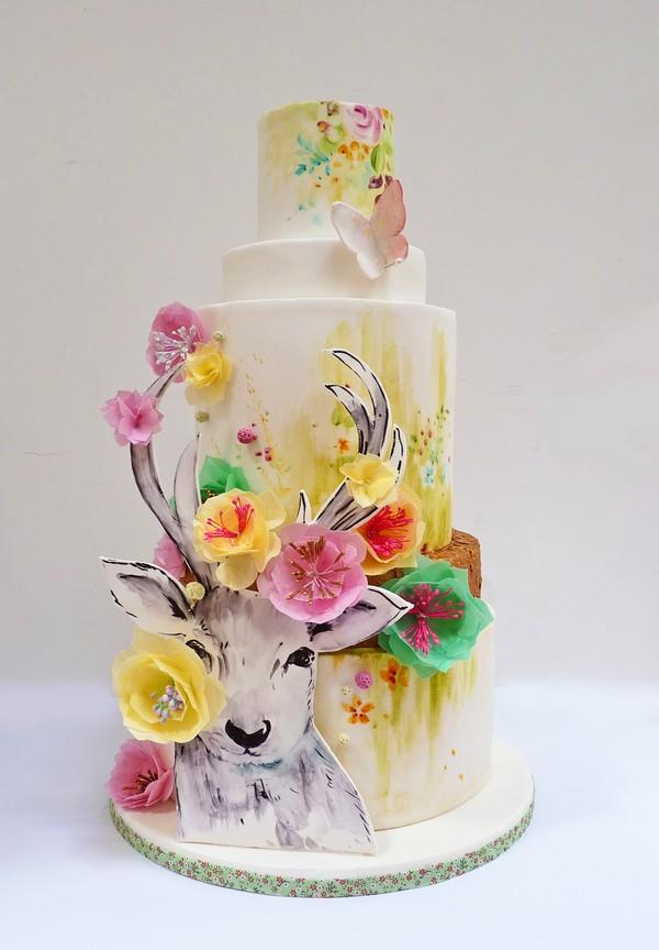 Watercolour Deer Hand-Painted Wedding Cake