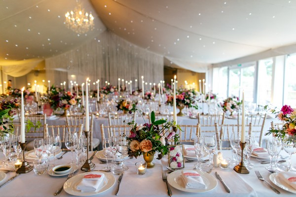 Wedding breakfast tables at Combermere Abbey