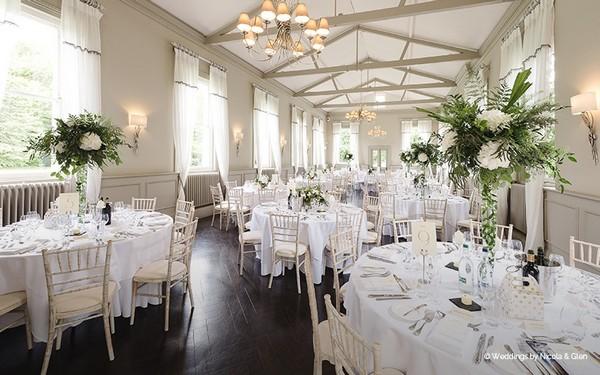 Wedding breakfast tables at Morden Hall