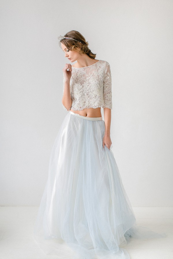 Bride wearing two-piece wedding dress
